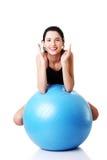 Beautiful  woman with pilates exercise ball. Stock Photos