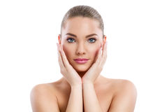 Beautiful young healthy woman, skin care royalty free stock photos