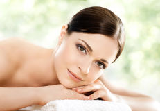 Beautiful, young and healthy woman in a spa salon Royalty Free Stock Images