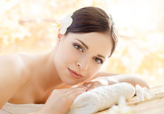 Beautiful, young and healthy woman in a spa salon Stock Images