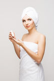 Beautiful, young and healthy woman in spa salon. Stock Photos