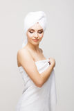 Beautiful, young and healthy woman in spa salon. Royalty Free Stock Images