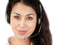 Beautiful young helpdesk operator Royalty Free Stock Photo