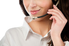 Beautiful young helpdesk operator Stock Image