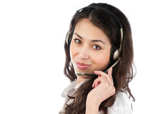 Beautiful young helpdesk operator Royalty Free Stock Images