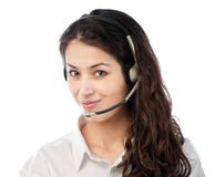 Beautiful young helpdesk operator Stock Images