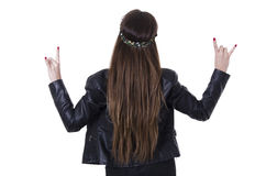 Beautiful young hippie rocker funky fashionable Stock Photography