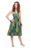 Beautiful young hippie woman in green dress Royalty Free Stock Images