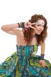 Beautiful young hippie woman in green dress Stock Photos