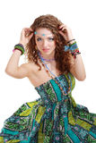 Beautiful young hippie woman in green dress Royalty Free Stock Image