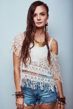 Beautiful young hippie woman Stock Images