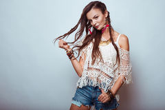 Beautiful young hippie woman Royalty Free Stock Images