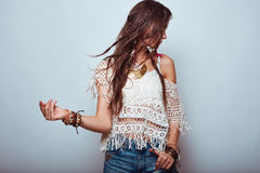 Beautiful young hippie woman Royalty Free Stock Photo