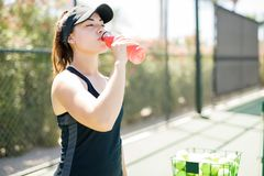 Beautiful tennis player drinking energy drink. Beautiful young hispanic female tennis player drinking energy drink after training on court outdoors Stock Photos