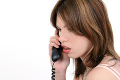 Beautiful Young Hispanic Woman On Phone Royalty Free Stock Photos