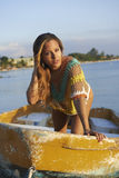 Latina Beauty on Small Boat Royalty Free Stock Photos