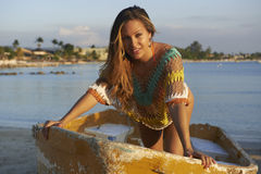 Latina Beauty on Small Boat Stock Photography