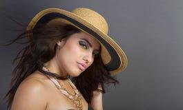 Beautiful Young Hispanic Woman Wearing Straw Hat Royalty Free Stock Photo