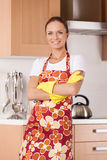 Beautiful young housewife cleaning the kitchen. Royalty Free Stock Photography