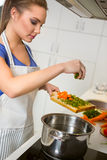 Beautiful young housewife in the kitchen Stock Photography