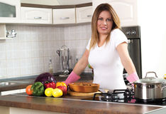 Beautiful young housewife serving lunch Stock Photography