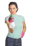 Beautiful young housewife with spraybottle Royalty Free Stock Photo