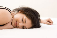 A beautiful young Indian girl sleeping Stock Photography