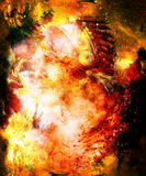 Beautiful young indian warrior in cosmic space. Painting collage. Fire effect. Beautiful young indian warrior in cosmic space. Painting collage. Fire effect Royalty Free Stock Image