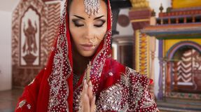 Beautiful young indian woman in traditional clothing with bridal Royalty Free Stock Image