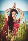 Beautiful Indian woman bellydancer. Arabian bride. Royalty Free Stock Photography
