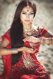 Beautiful Indian woman bellydancer. Arabian bride Stock Photos