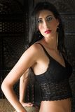 Beautiful young Italian woman in black Royalty Free Stock Images