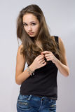 Beautiful young jeans model. Stock Photos