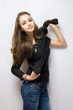 Beautiful young jeans model. Royalty Free Stock Images