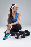 Beautiful young jogging woman exercises with dumbbells Isolated Stock Photos