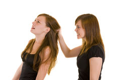 Beautiful young ladies fighting Royalty Free Stock Photography