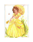The beautiful young lady. In a retro dress with an umbrella on a bright sunny day. Beautiful drawing gouache Stock Photos