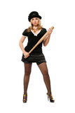 Beautiful young lady with a bat stock photography