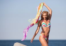 Beautiful young lady on the beach Royalty Free Stock Photos