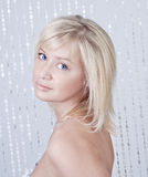 Beautiful young lady with blond hair portrait Stock Photography
