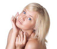 Beautiful young lady with blond hair portrait Stock Photos