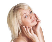 Beautiful young lady with blond hair portrait Stock Image