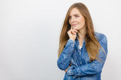 Beautiful young lady with denim jacket. Stock Photography