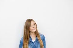 Beautiful young lady with denim jacket. Stock Image
