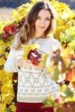 Beautiful young lady in grape vineyard. Grape goddess. Beautiful young lady in yellow vineyard stock photo