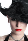 Beautiful young Lady with hat Stock Photo