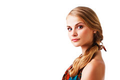 Beautiful Young Lady In Colorful Dress Royalty Free Stock Images