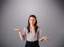 Beautiful young lady juggling with copy space Stock Photo