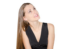 Beautiful young lady looking up Stock Photography