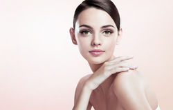 Beautiful young lady with make up face Royalty Free Stock Images